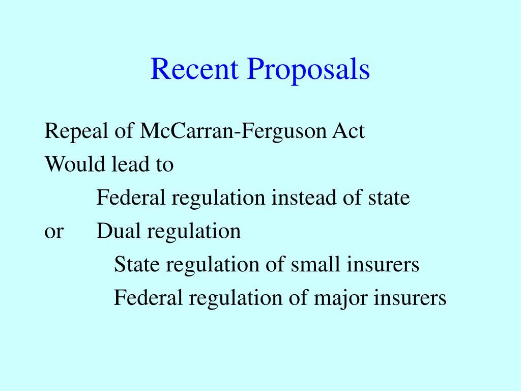 Recent Proposals