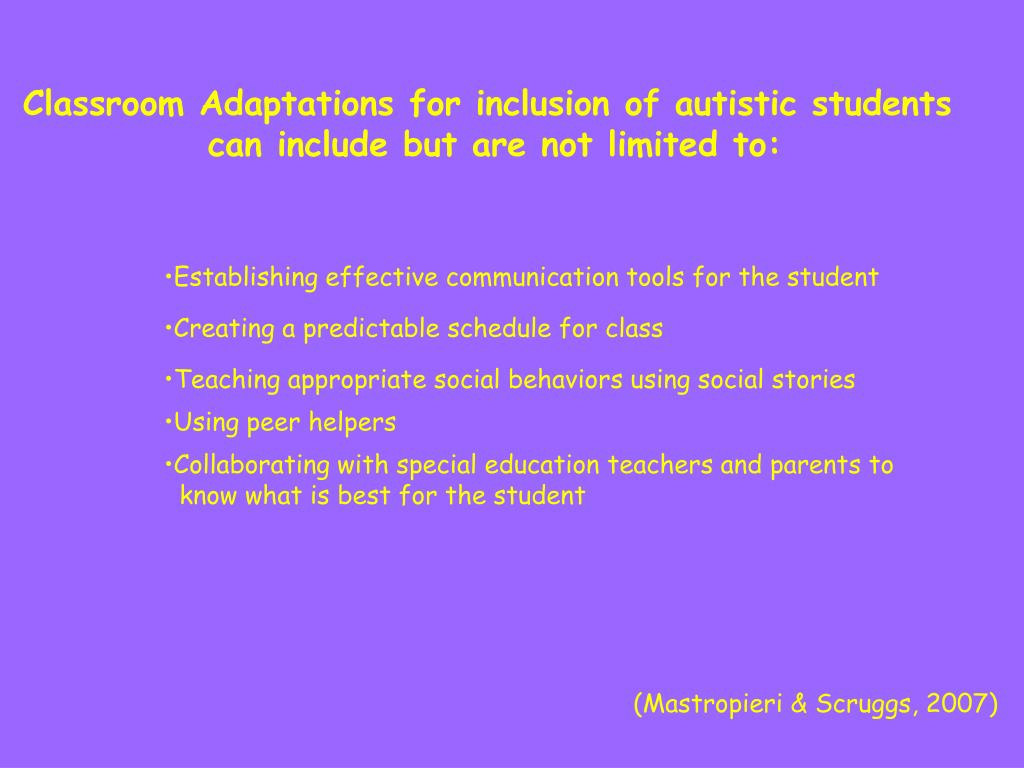 Classroom Adaptations for inclusion of autistic students