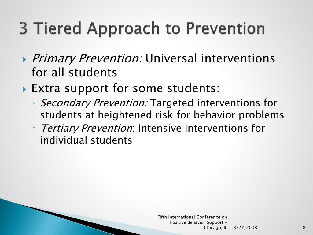 3 Tiered Approach to Prevention