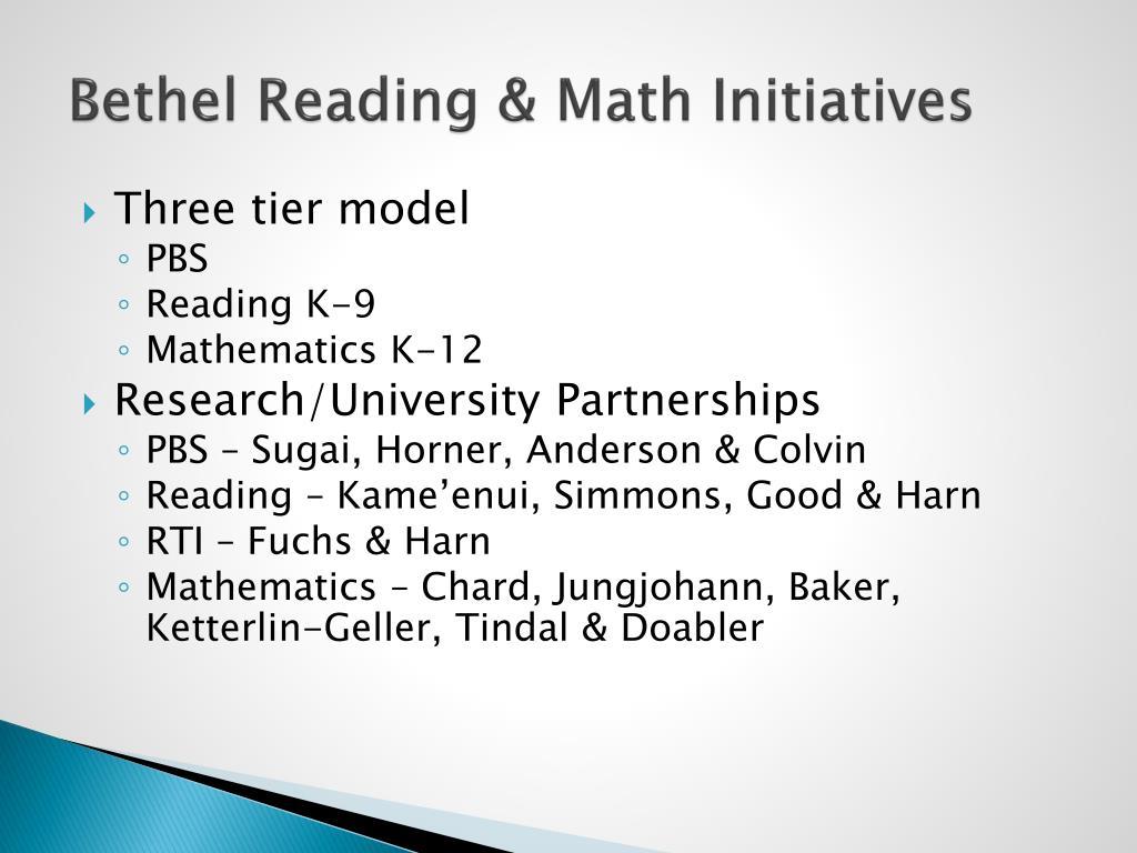 Bethel Reading & Math Initiatives