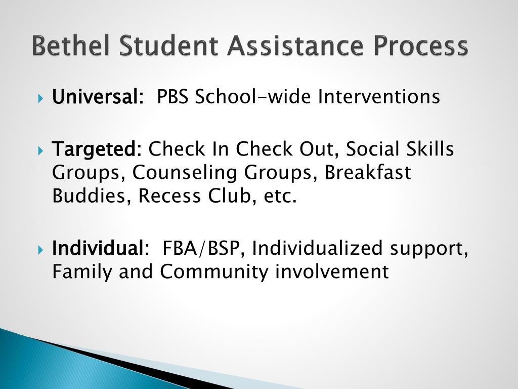 Bethel Student Assistance Process