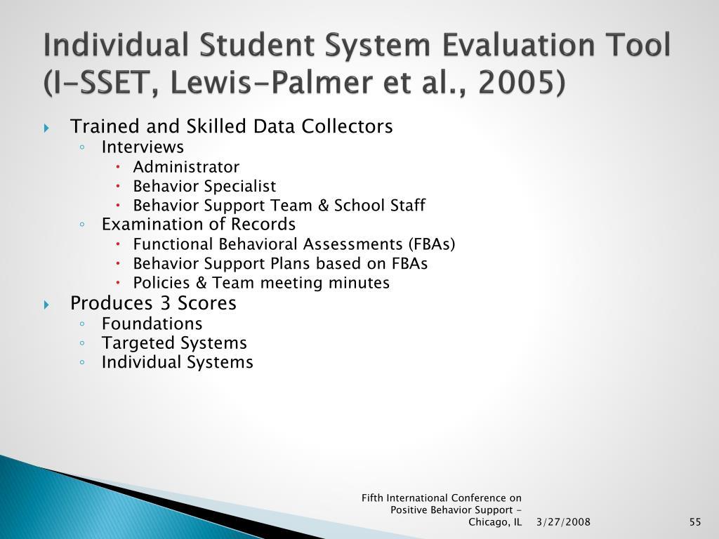Individual Student System Evaluation Tool (I-SSET, Lewis-Palmer et al., 2005)