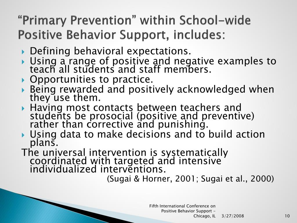 """""""Primary Prevention"""" within School-wide Positive Behavior Support, includes:"""