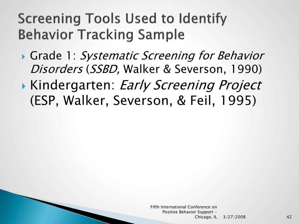 Screening Tools Used to Identify Behavior Tracking Sample