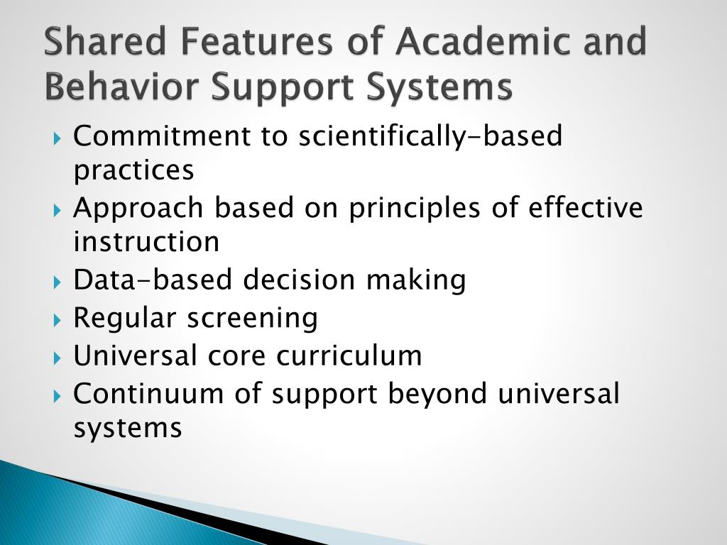 Shared Features of Academic and Behavior Support Systems