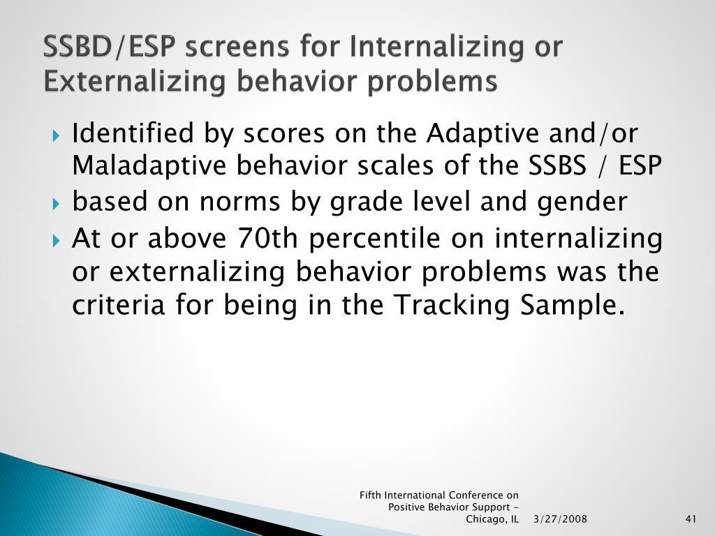 SSBD/ESP screens for Internalizing or Externalizing behavior problems