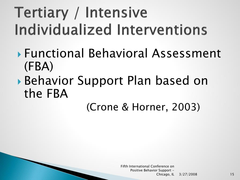 Tertiary / Intensive Individualized Interventions