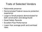 traits of selected vendors
