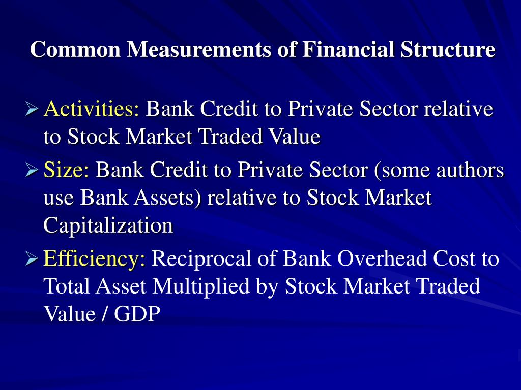 Common Measurements of Financial Structure