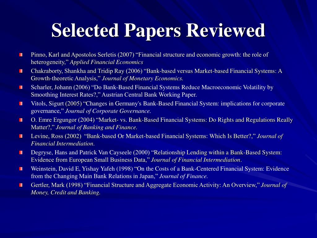 Selected Papers Reviewed