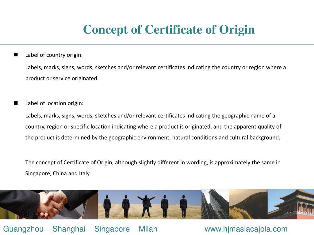Concept of Certificate of Origin