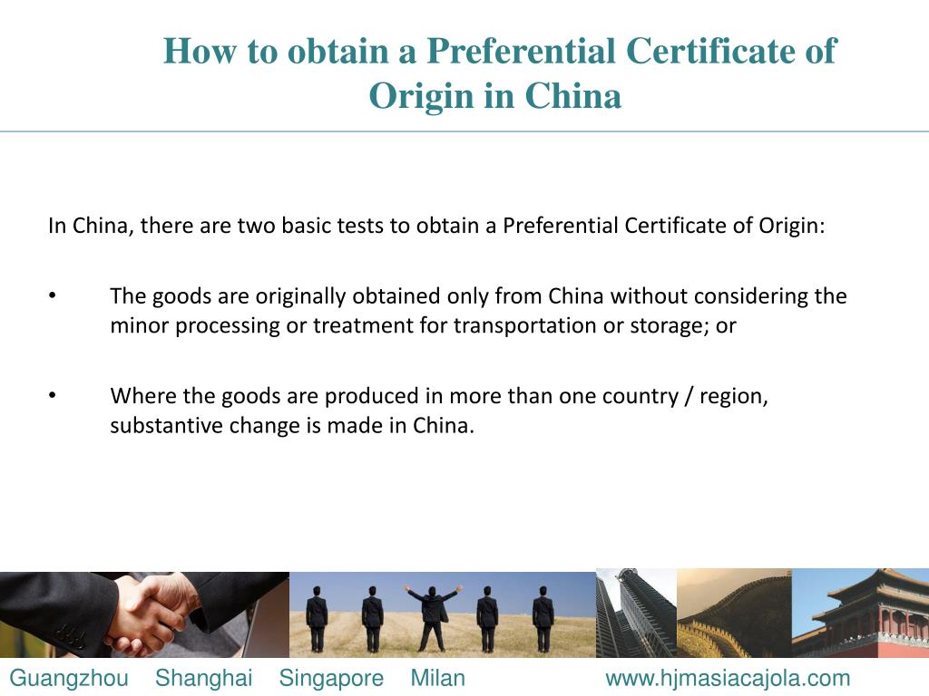 How to obtain a Preferential Certificate of Origin in China