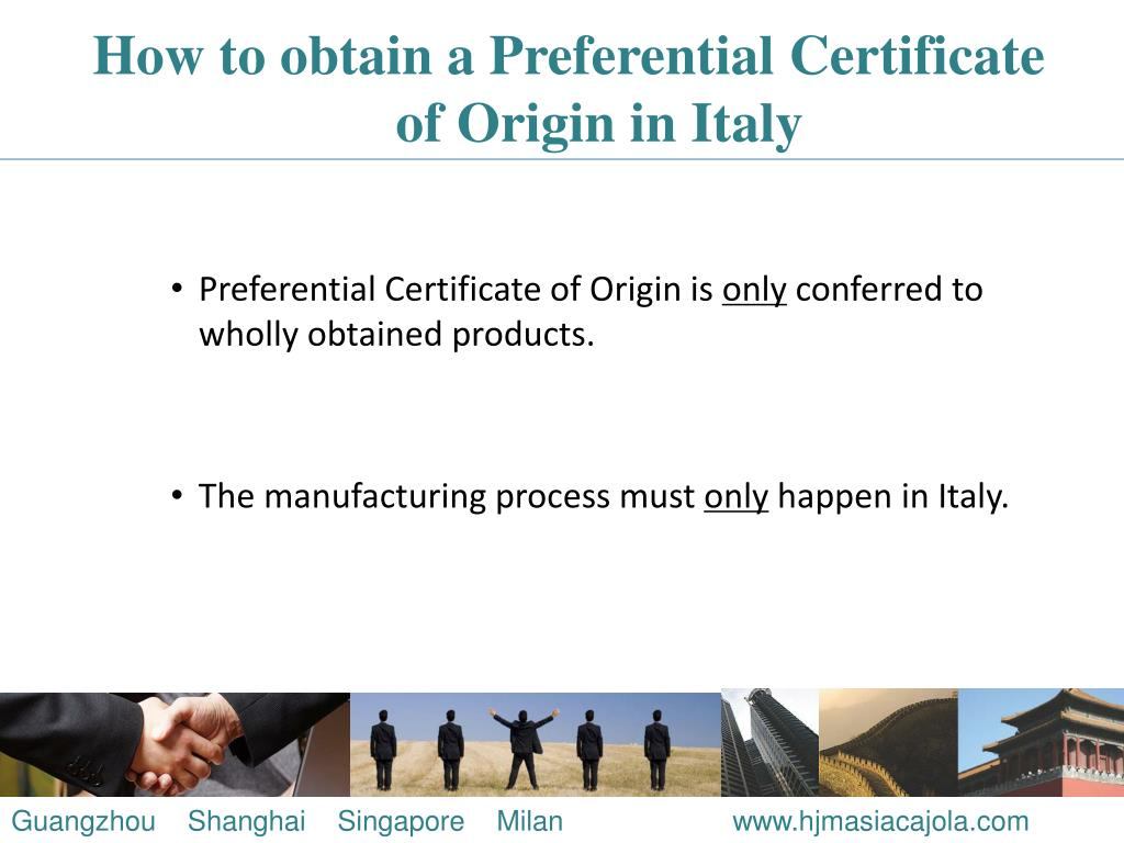 How to obtain a Preferential Certificate of Origin in Italy