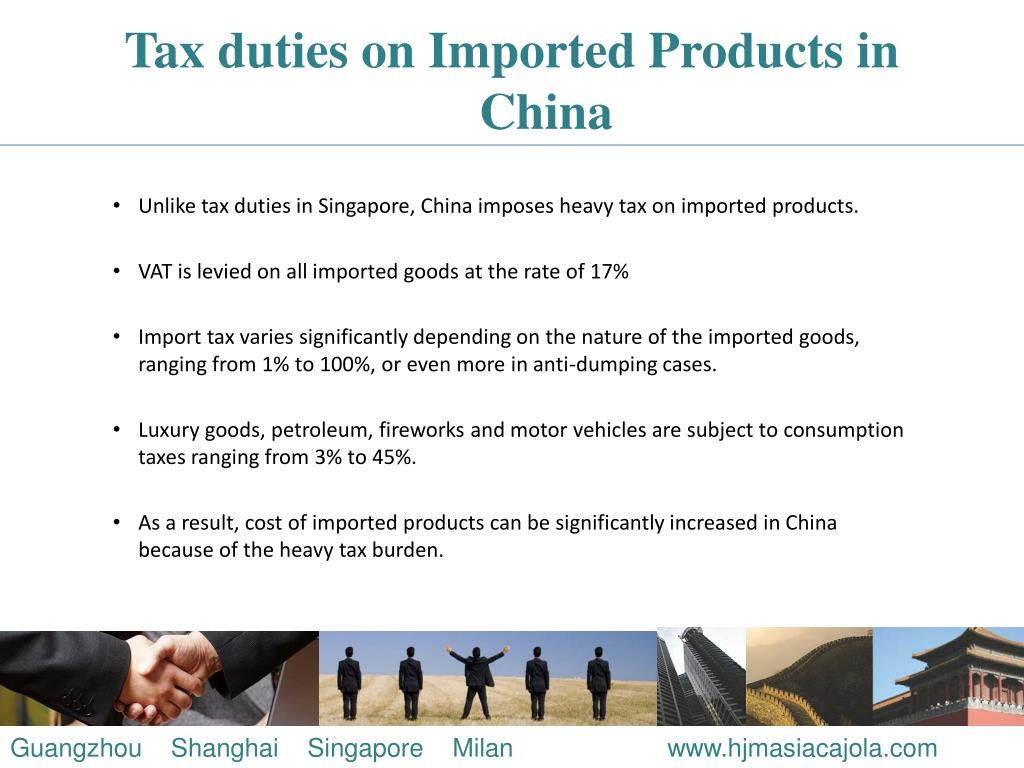 Tax duties on Imported Products in China