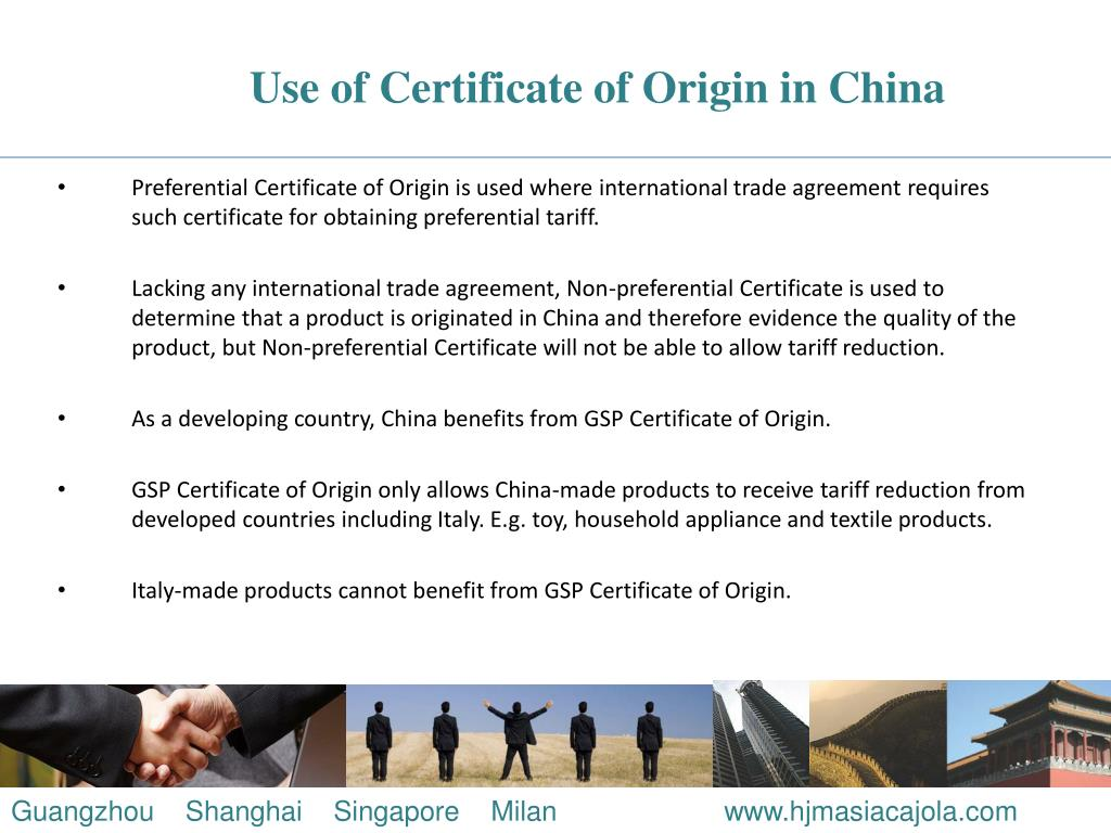 Use of Certificate of Origin in China