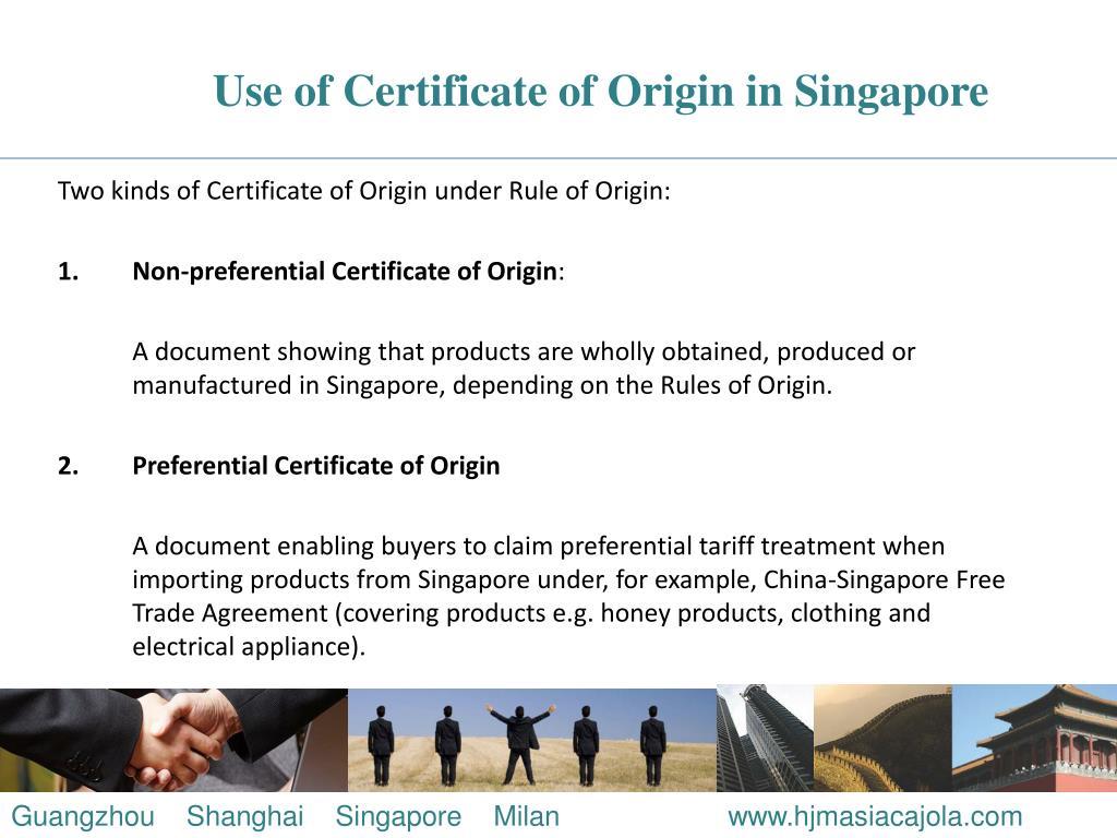 Use of Certificate of Origin in Singapore