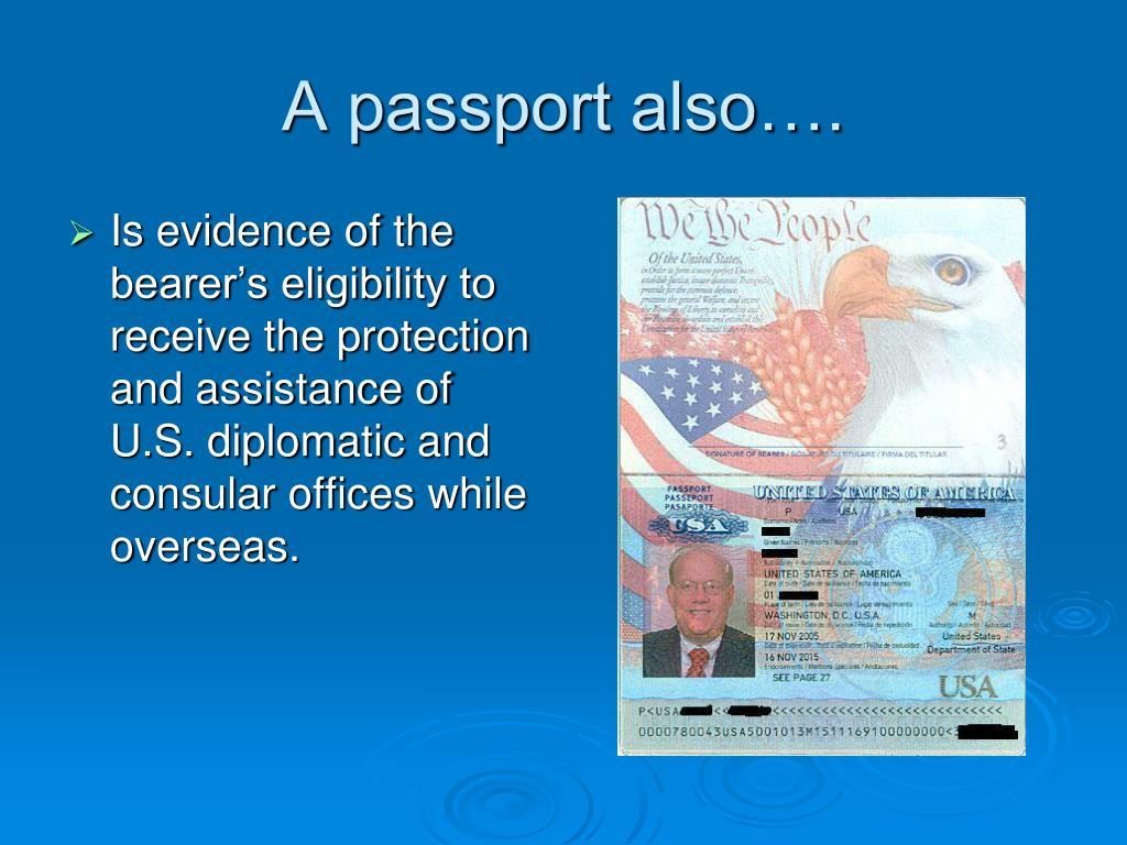 A passport also….