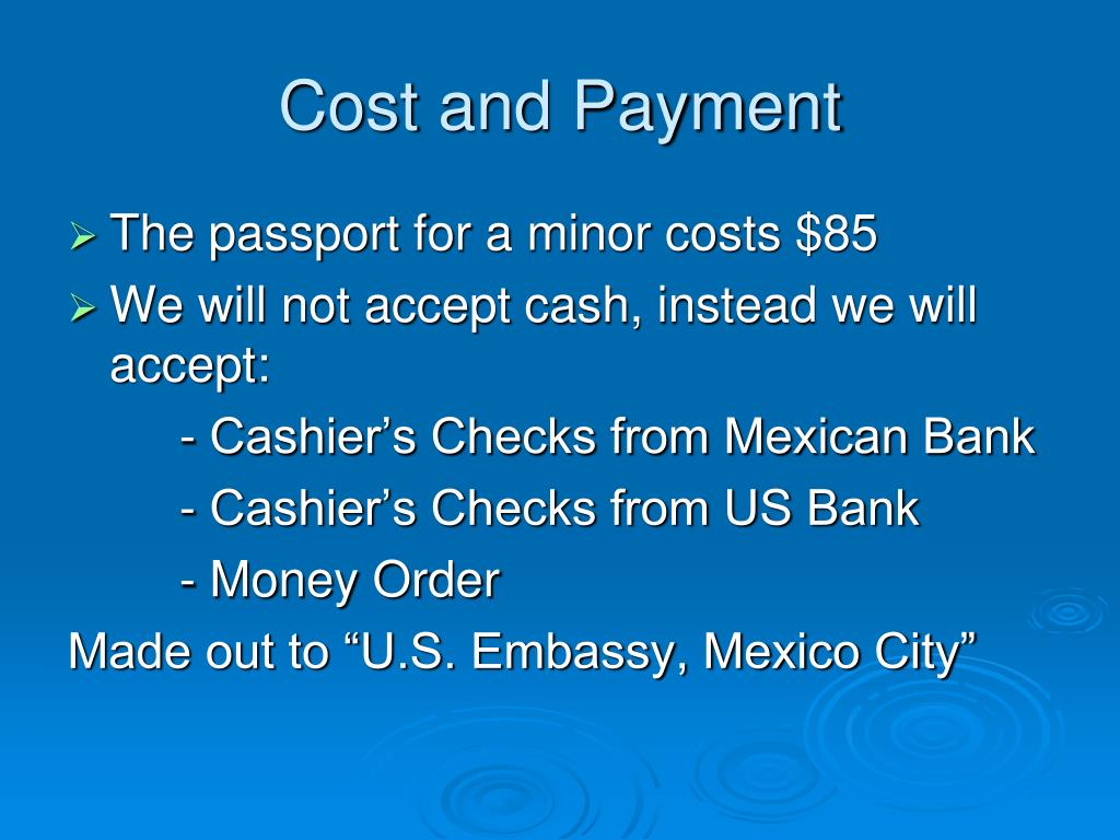 Cost and Payment