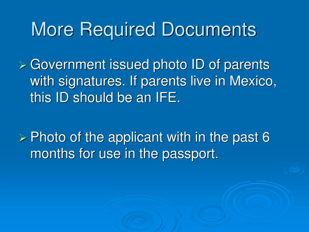 More Required Documents