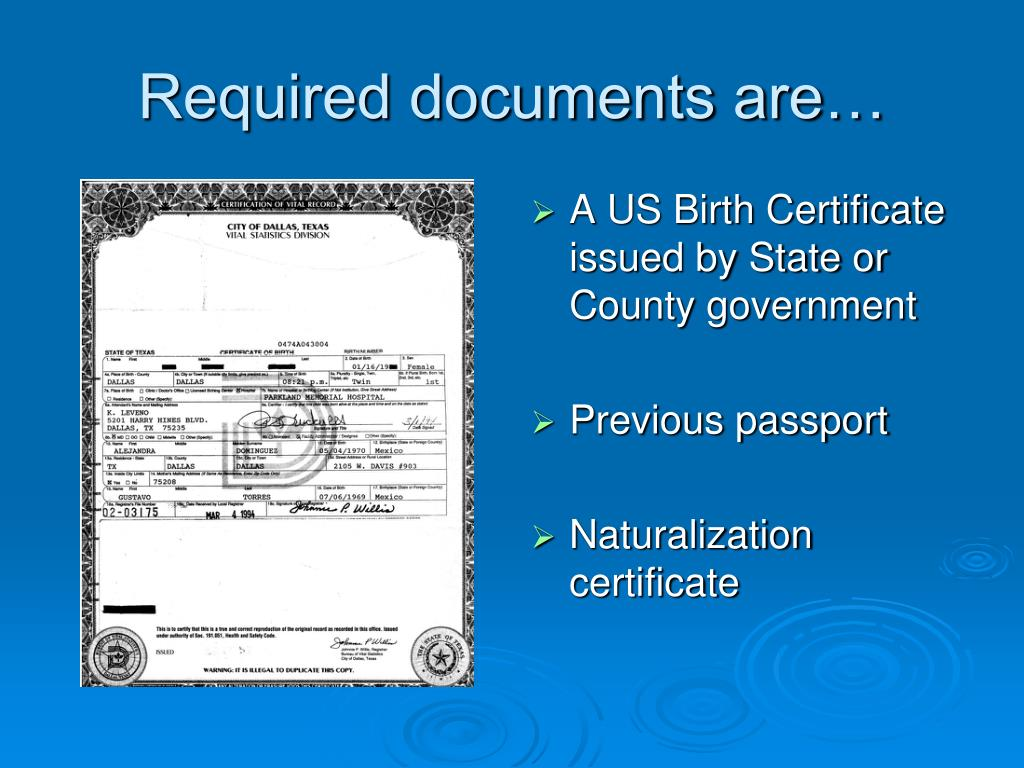 Required documents are…