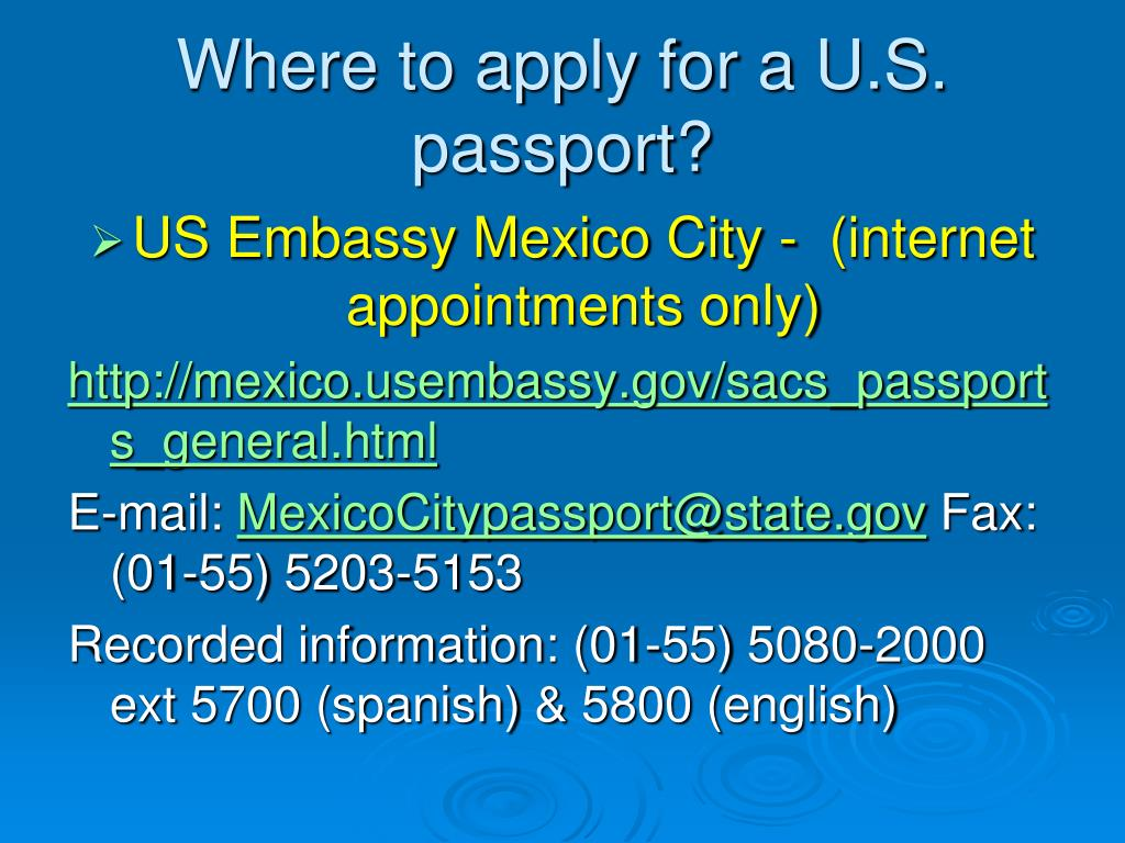 Where to apply for a U.S. passport?