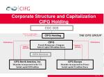 corporate structure and capitalization cifg holding
