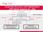 corporate structure and capitalization cifg north america inc na