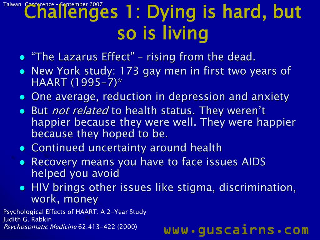 Challenges 1: Dying is hard, but so is living