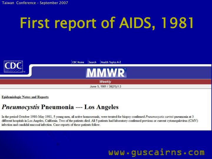 First report of aids 1981