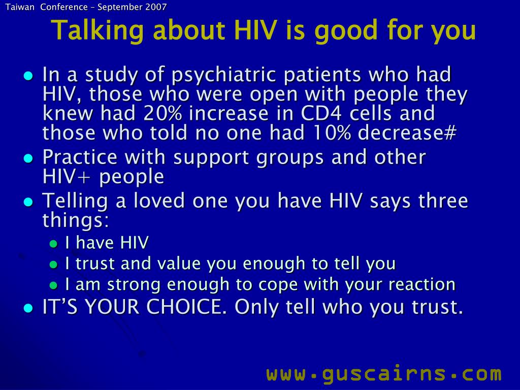 Talking about HIV is good for you