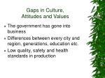 gaps in culture attitudes and values