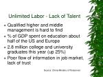 unlimited labor lack of talent