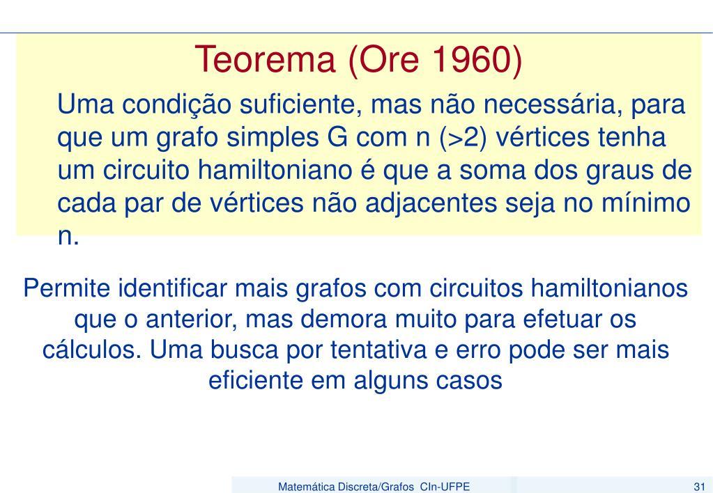 Teorema (Ore 1960)