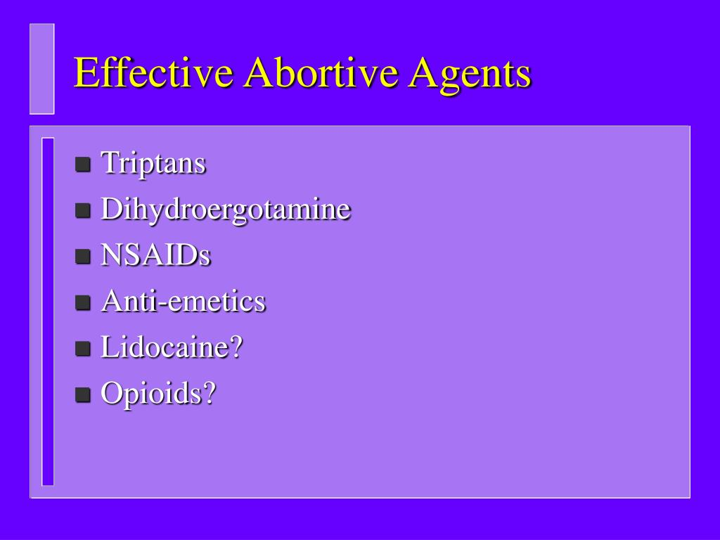 Effective Abortive Agents