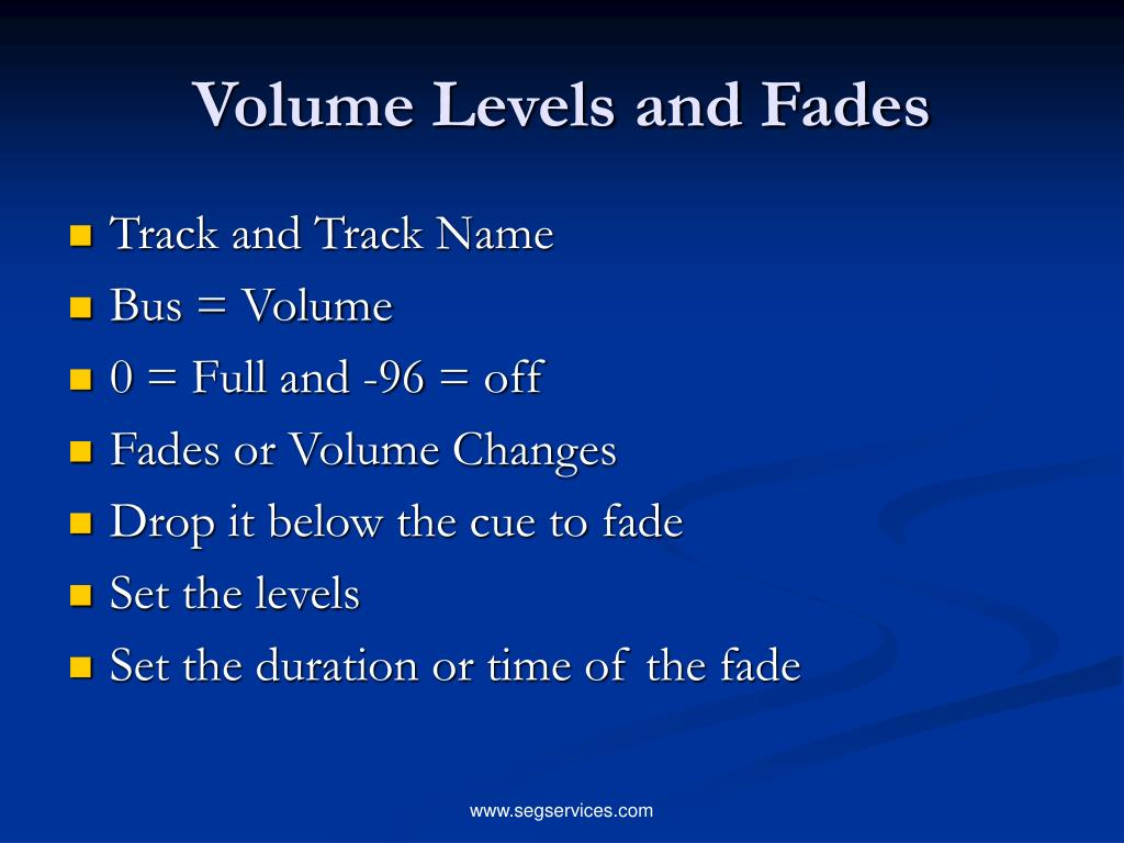 Volume Levels and Fades