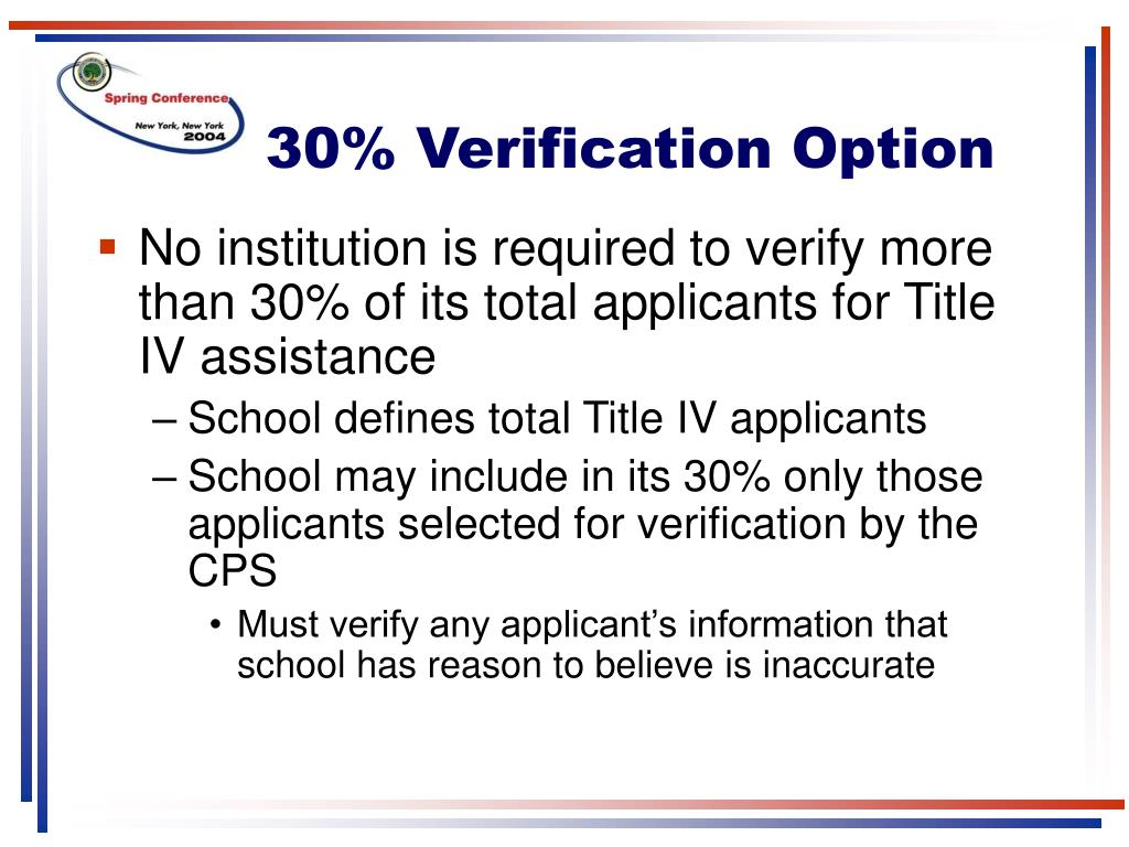 30% Verification Option