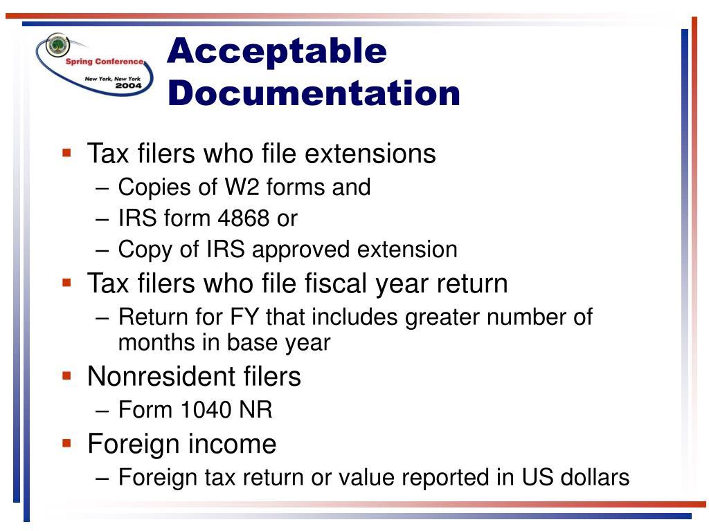 Acceptable Documentation
