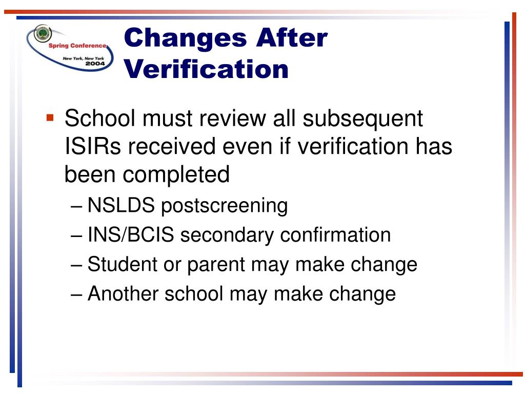Changes After Verification