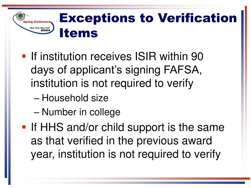 Exceptions to Verification Items