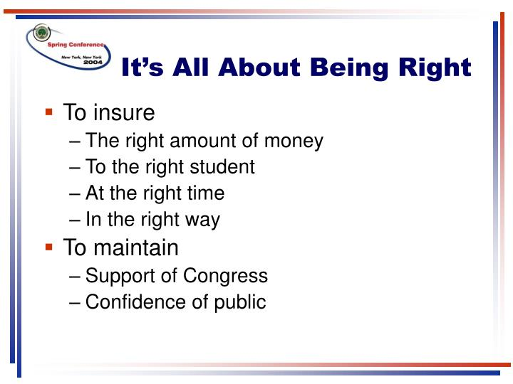 It s all about being right