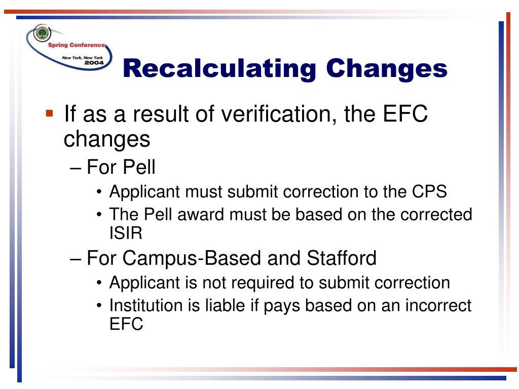 Recalculating Changes