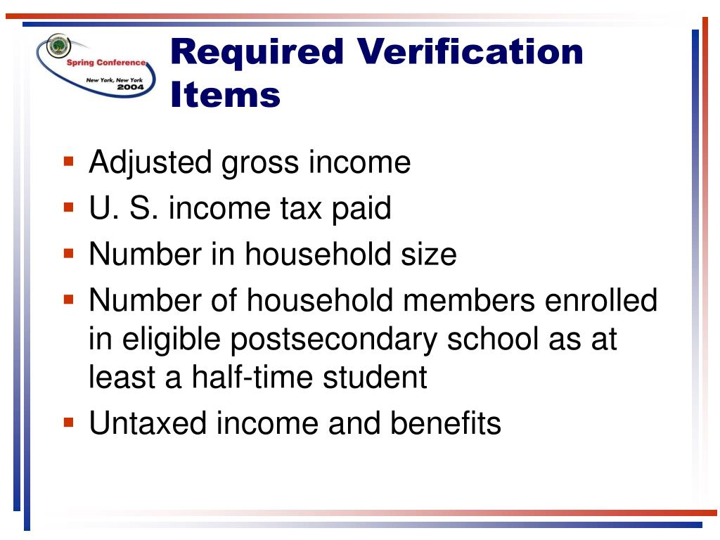 Required Verification Items
