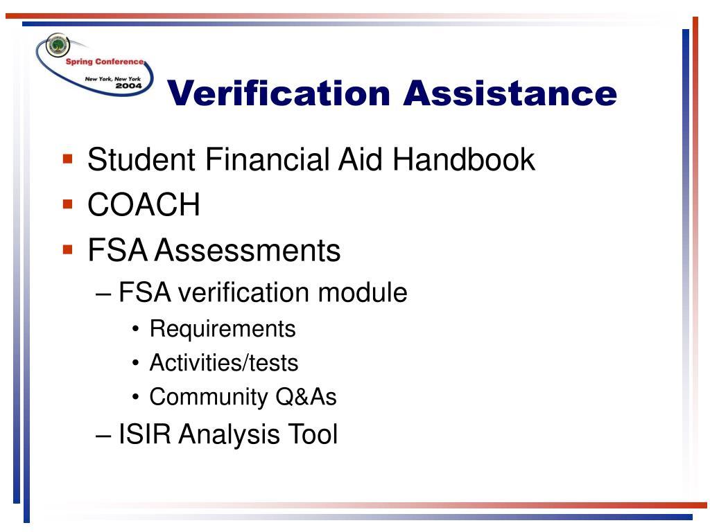 Verification Assistance