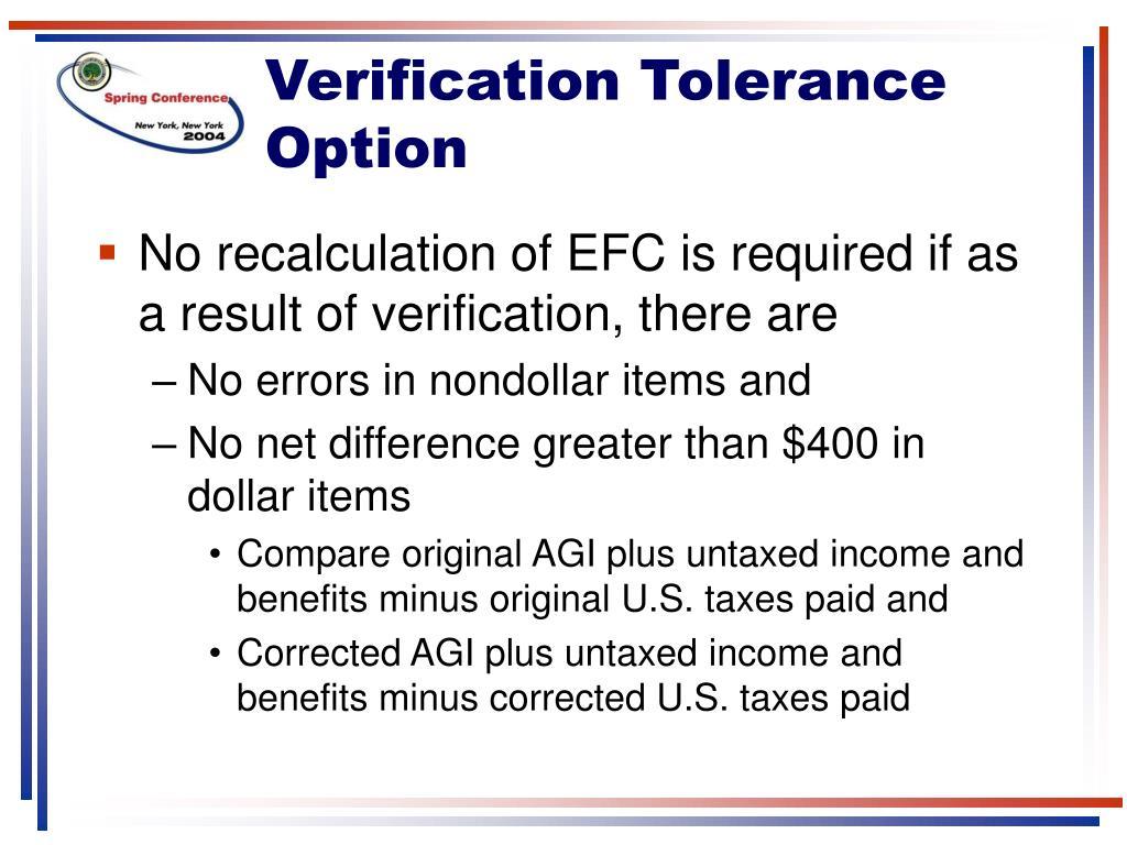 Verification Tolerance Option