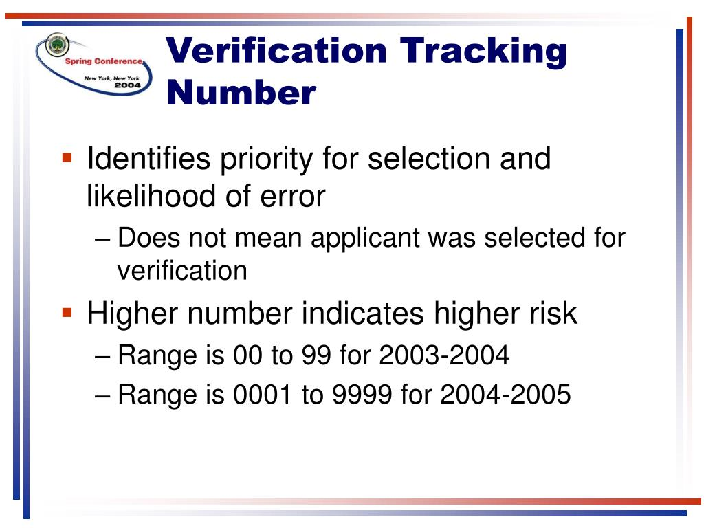 Verification Tracking Number