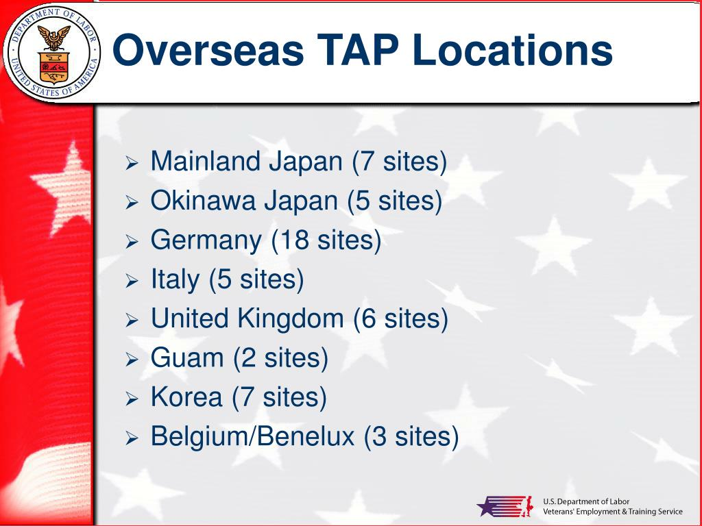Overseas TAP Locations