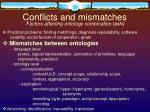 conflicts and mismatches