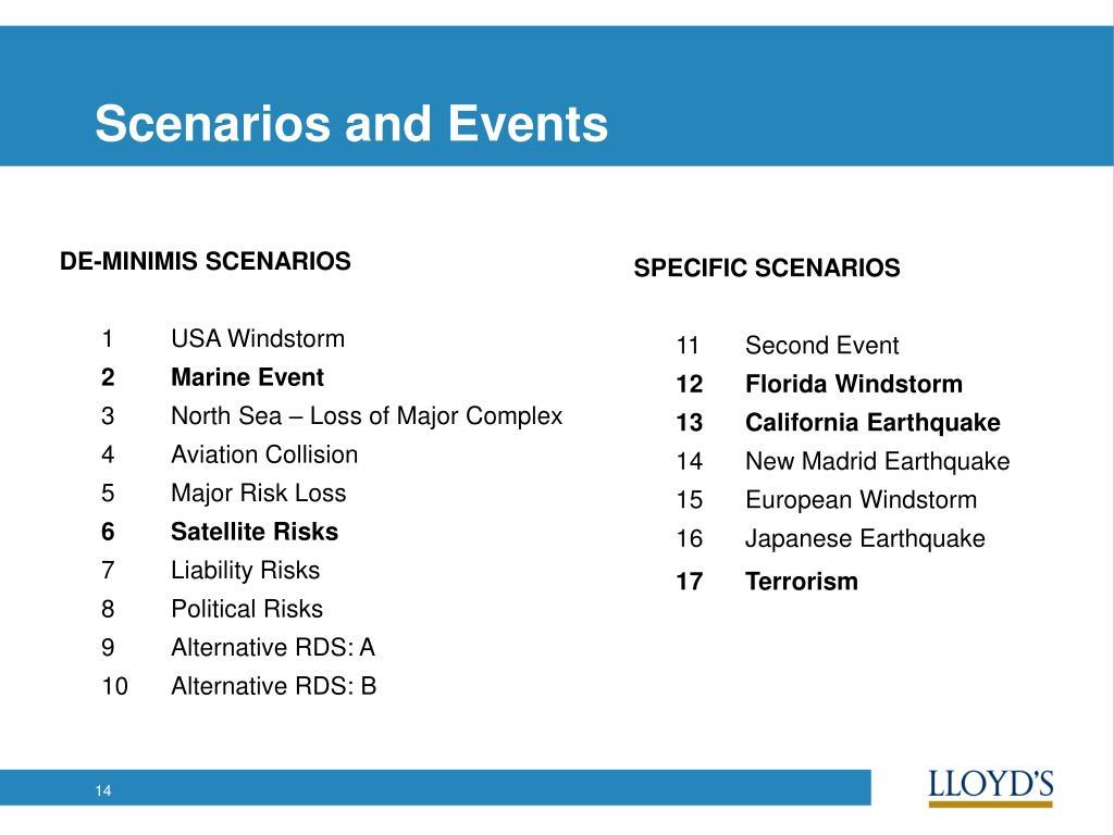 Scenarios and Events