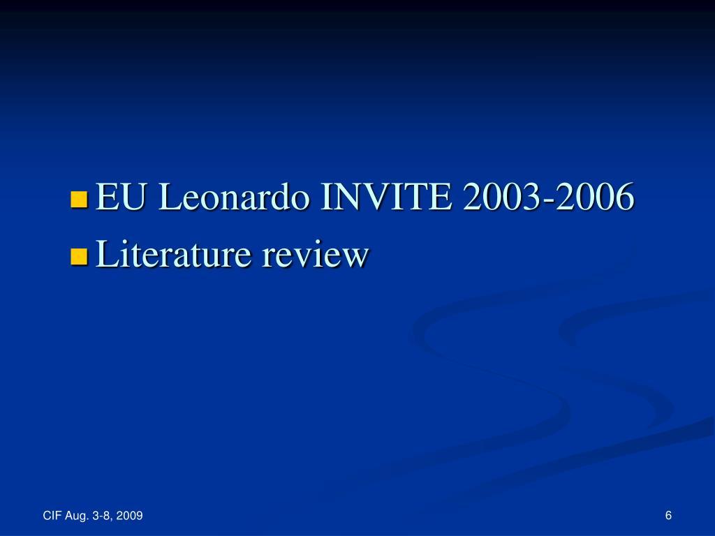 EU Leonardo INVITE 2003-2006