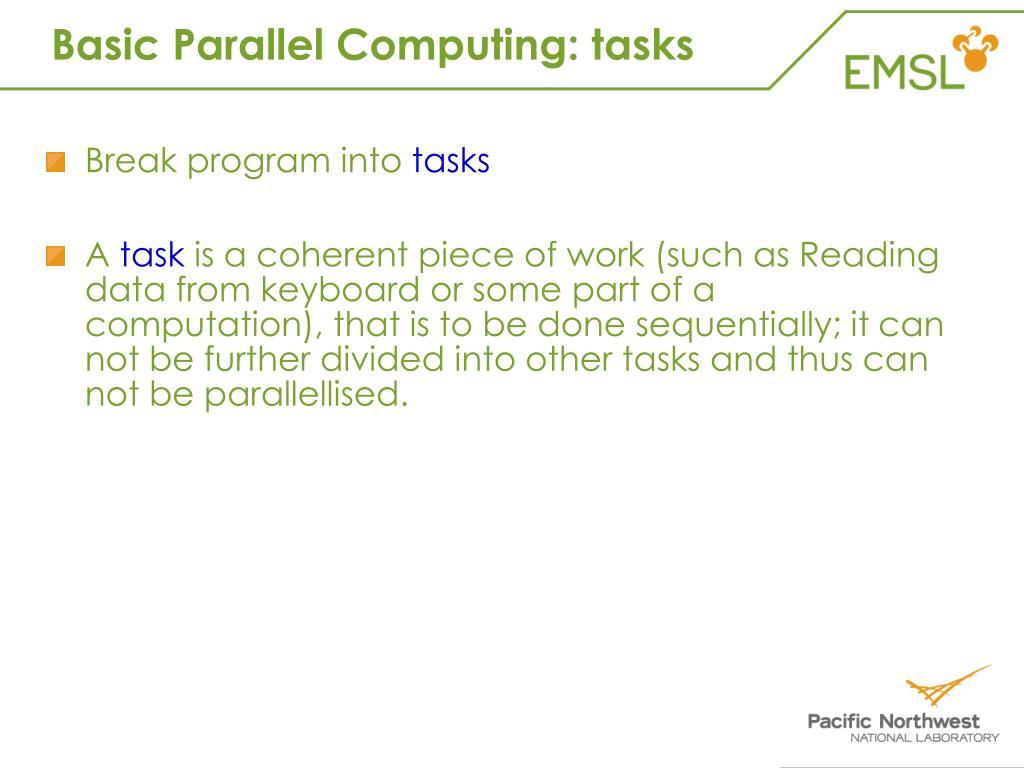 Basic Parallel Computing: tasks